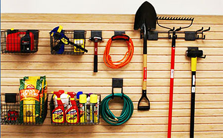 Slat Wall Is The Perfect Addition To Your Garage Whether Above Workbench Or On A 5 Hooks And 2 Baskets Give You Ultimate